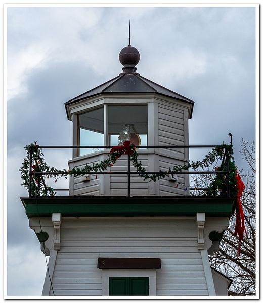 2018 Restored Port Clinton Pier Light sitting in a Park...