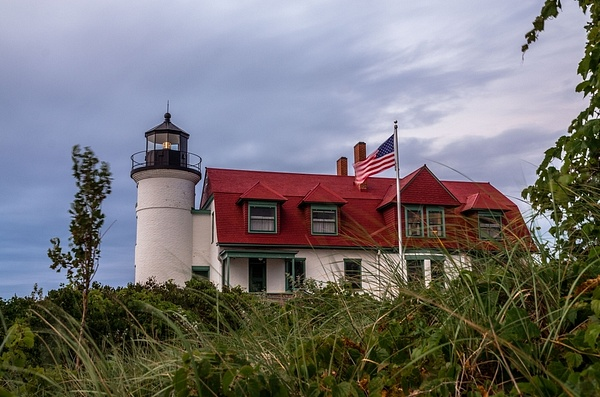 2018 Point Betsie Lighthouse on an overcast day in...