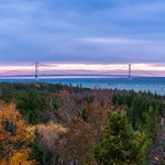 2018 Fall Sunrise over the Mackinac Straits with the Mackinac Bridge in the Background