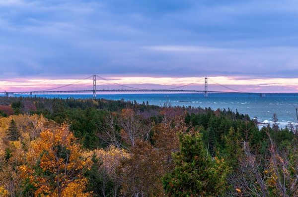 2018 Fall Sunrise over the Mackinac Straits with the...