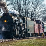 2019 Pere Marquette #1225 Steam Locomotive pulling the North Pole Express from Owosso to Ashley, MI.