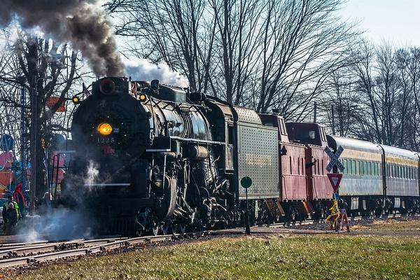 2019 Pere Marquette #1225 Steam Locomotive pulling the...
