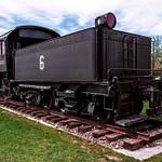 2018 EJ&S #6 Steam Locomotive on Display in a Park in East Jordan, Michigan in May 2018.