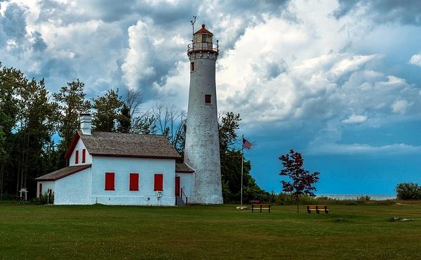 2019 Sturgeon Point Lighthouse on Lake Huron in...