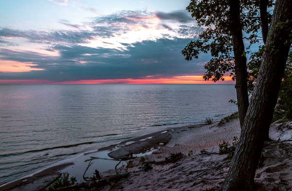 2019 Sunset over Lake Michigan from Hoffmaster State...