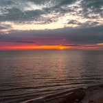 2019 Sunset over Lake Michigan from Hoffmaster State Park in Muskegon, Michigan.