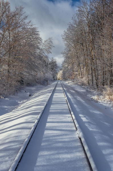 Snow Covered Rail Line