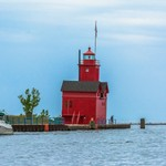 2019 Holland Channel Lighthouse (Big Red) on a rainy day in late August