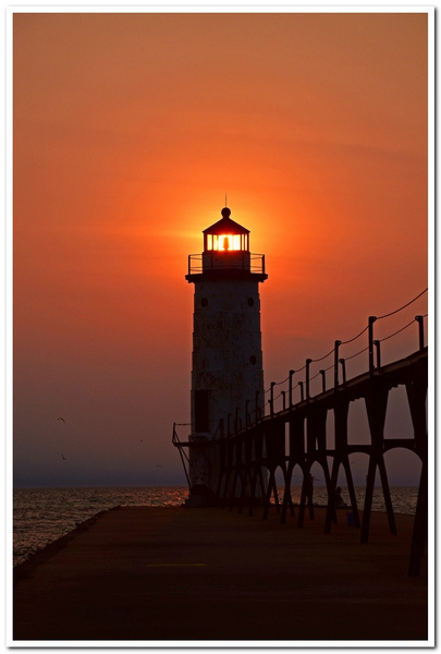 Sunset @ Manistee Pier Light