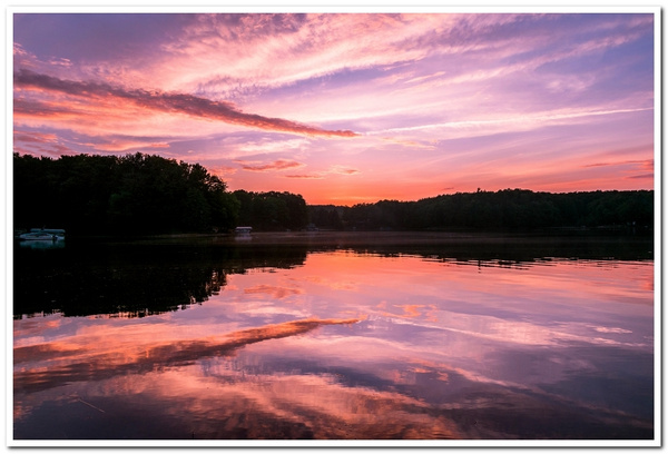 2021 Sunset on Dayhuff Lake in Boon, Michigan on June...