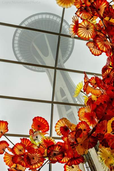 Space Needle Framed By Chihuly Glass