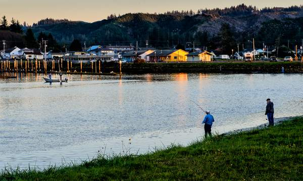Fishing At the Golden Hour In Winchester Bay
