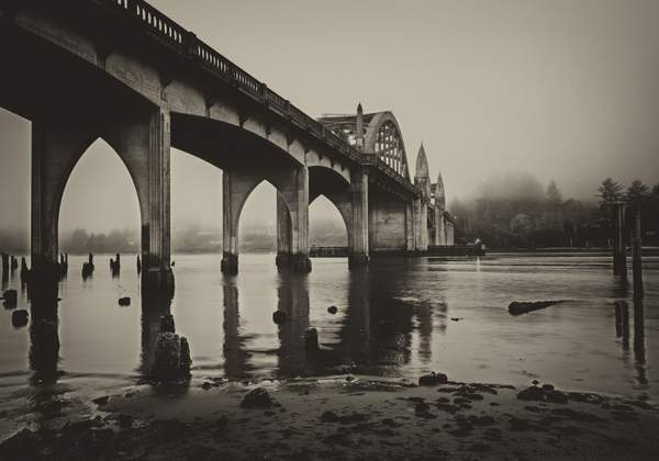 Under the Bridge With Fogvintage bandw