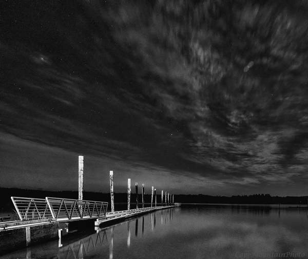 Siltcoos Dock In Twilight black and white