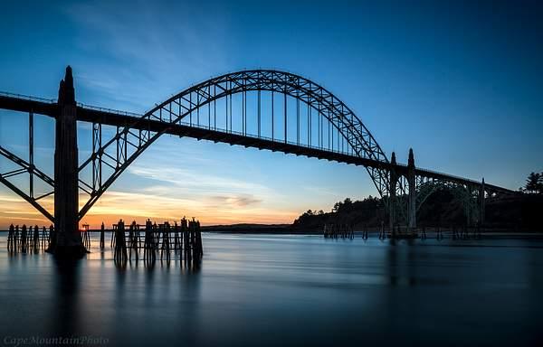 Newport Bridge Sunset Still Water