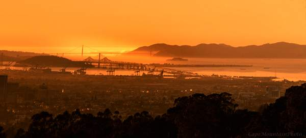 Golden Gate and Bay Bridge As the Sun Went Down