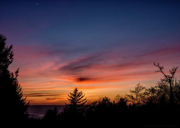 Sunset Off the Deck in April