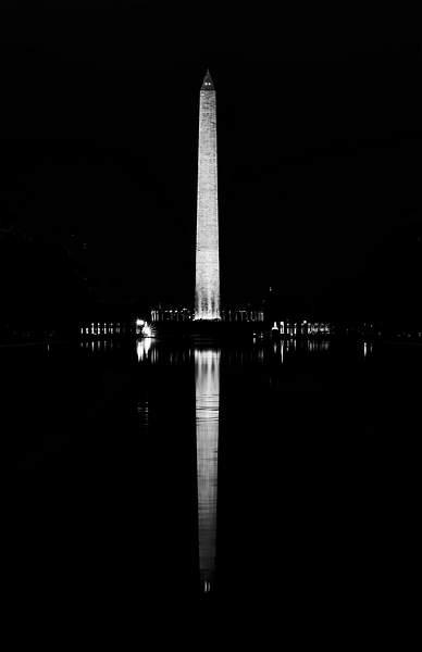 Black and White Washington Monument Reflected