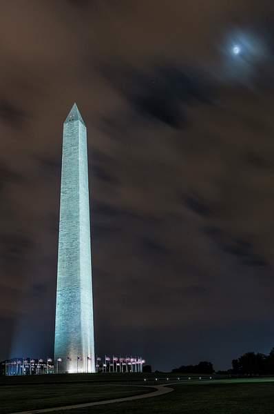 Twilight Moon At Washington Monument