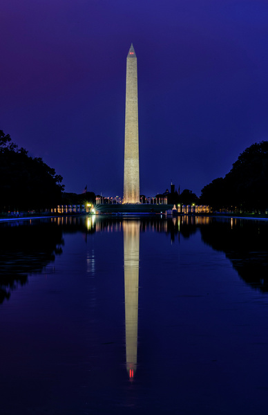 Purple Tinged Twilight With Washington Monument Reflected