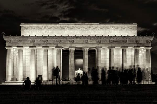 Lincoln Memorial At Twilight B and W