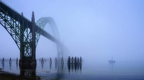 Coming Under the Newport Bridge In Fog reedit