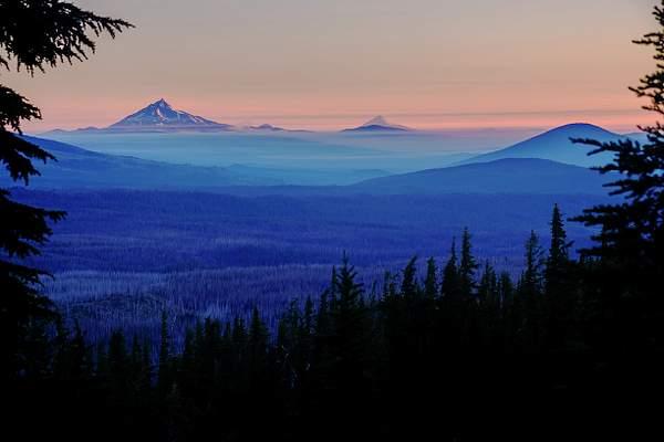 Dawn Foggy Mountains Framed