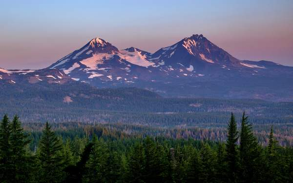 Dawn Light On Middle and North Sister