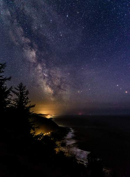 Looking Down the Coast At the Milky Way