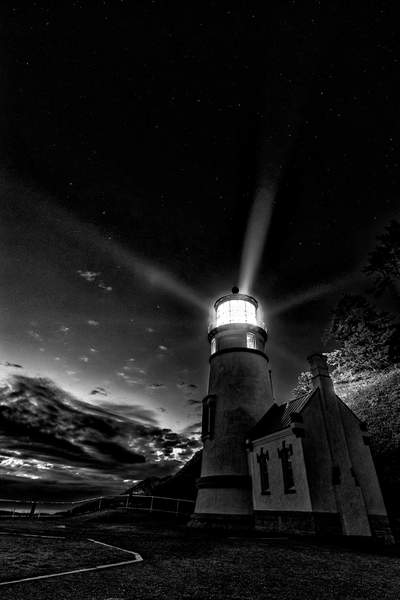 Black and White Lighthouse Rays