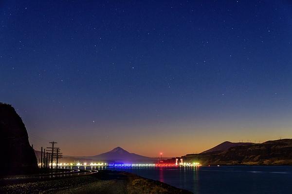 John Day Dam and Mt Hood In Twilight