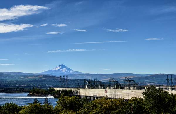 The Dalles Dam and Mt Hood