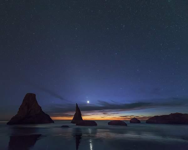 Stars Coming Out At Bandon Rocks 1