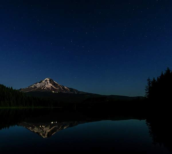 Full Moon Shining On Mt Hood Reflected During the Blue Hour 2 (1 of 1)