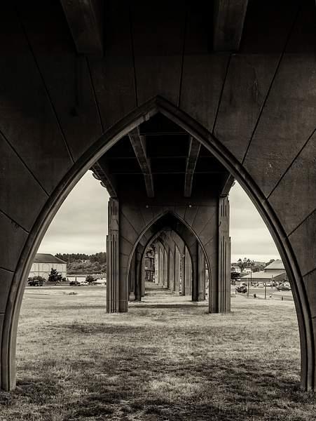 Under the Newport Bridge black and White