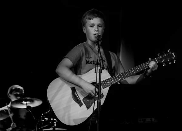Mason Singing with Guitar b and w