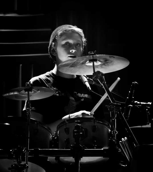 Drummer in B and W