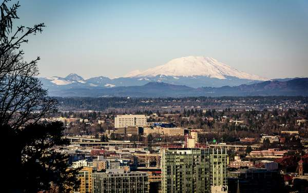 Mt St Helens Looming Over the City
