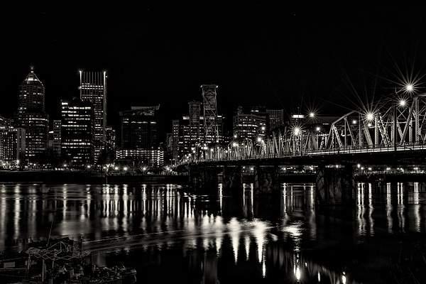 Hawthorne Bridge At Night with Kayak Motion Blur and w (1 of 1)
