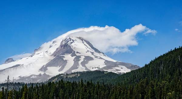 Cloudy Scarf Over Mt Hood
