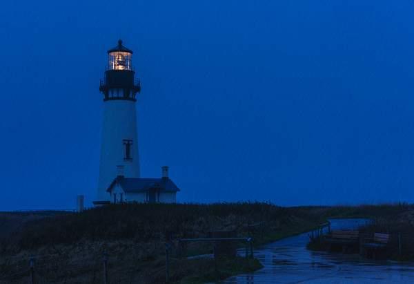 Rainy Yaquina Lighthouse Twilight