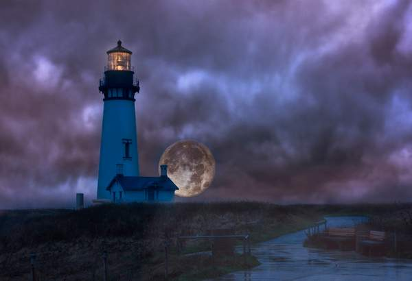 Rainy Night for Super Moon At Lighthouse V 5