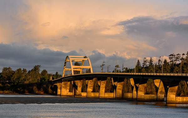 Golden Light On Waldport Bridge As the Sun Comes Up
