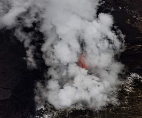 Lava Into Ocean from Helicopter