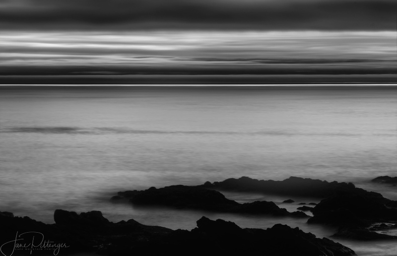 Yachats After the Sun Went Down B and W