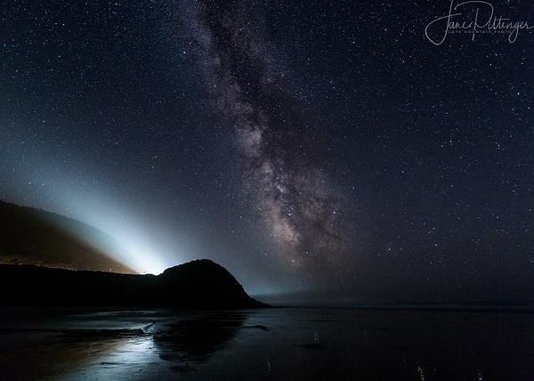Car Beams Compete with Milky Way At Ocean Beach