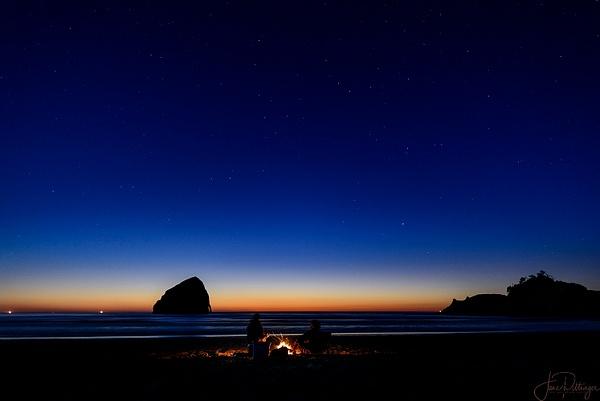 Beach Campfire In Starlight by jgpittenger