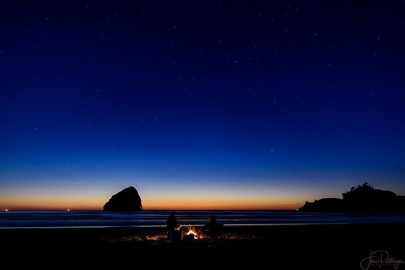 Beach Campfire In Starlight