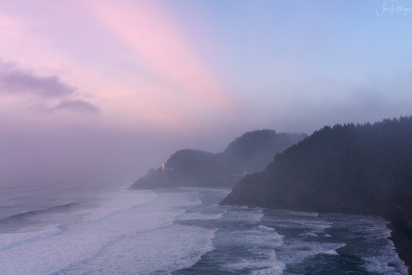 Foggy_Lighthouse_Sunset_ by jgpittenger