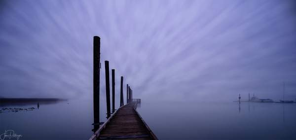 Foggy Dawn At Siltcoos Dock with Rendered Clouds